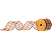 Orange & Brown Plaid Woven Wired Edge Ribbon - 2 1/2""