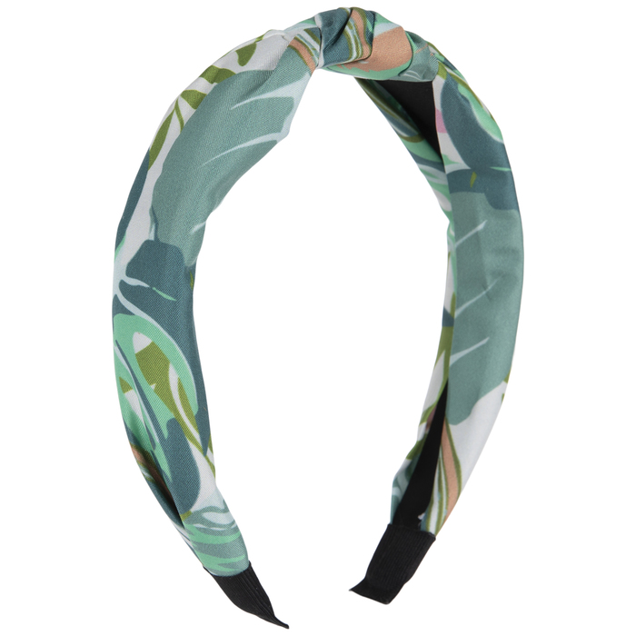 BLUE WHITE GREEN FLORAL COTTON HANDMADE BENDY HAIR WRAP WIRE SCARF HEADBAND E161