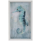 Teal Watercolor Seahorse Framed Wall Decor