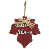 Welcome Autumn Wood Leaf Ornament