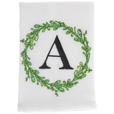 Greenery Wreath Letter Cloth Napkin - A