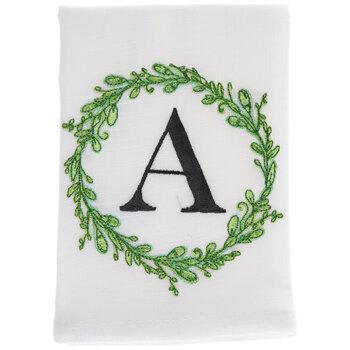 Greenery Wreath Letter Cloth Napkin - A