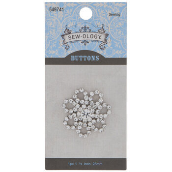 Rhinestone Flower Shank Button - 28mm