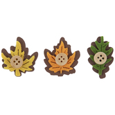 Wood Leaf With Button Stickers