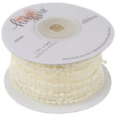 """Ivory Lace With Pearls Wired Edge Ribbon - 1 1/2"""""""