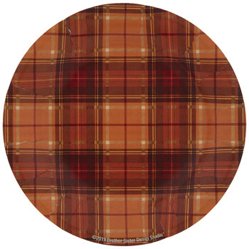 Orange Plaid Paper Plates - Small