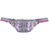 Purple Iridescent Cat Print Fanny Pack