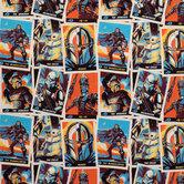 Mandalorian Cards Cotton Calico Fabric