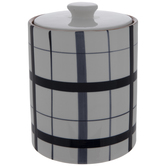 White & Blue Plaid Canister