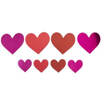 Red & Pink Metallic & Glitter Heart Stickers