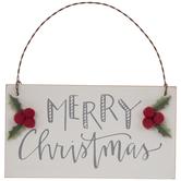 Merry Christmas & Holly Ornament