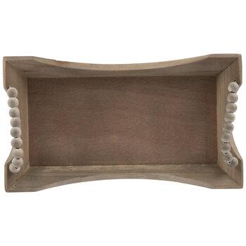 Rectangle Beaded Wood Tray - Small