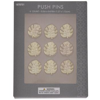Gold Monstera Leaf Metal Push Pins