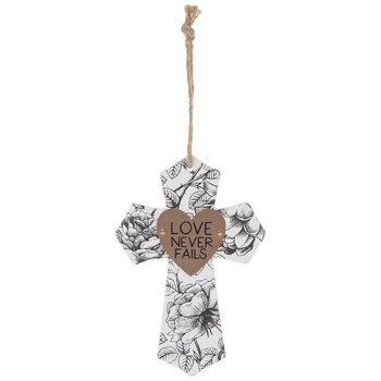 Love Never Fails Floral Wood Wall Cross