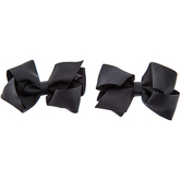 Black Grosgrain Bow Hair Clips - Small