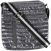 Dark Silver Metallic Puff Crossbody Handbag