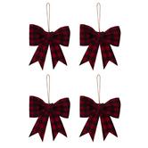 Red & Black Buffalo Check Bow Ornaments