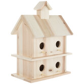 Two-Tiered Fir Wood Birdhouse
