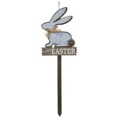 Happy Easter Bunny Wood Garden Stake