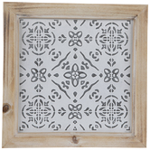 Whitewash Embossed Tile Wood Wall Decor
