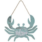 Welcome Crab Wood Wall Decor