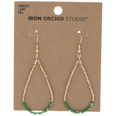 Green Beaded Teardrop Hoop Earrings