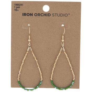 Green Beaded Teardrop Hoop Earrings
