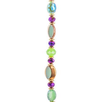 Green Mixed Media Glass Bead Strand