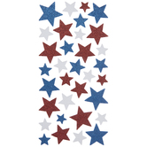 Red, White & Blue Glitter Star Stickers