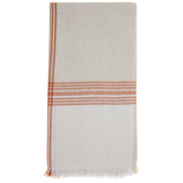 Cream & Orange Plaid Fringe Napkins