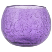 Roly Poly Crackled Glass Candle Holder