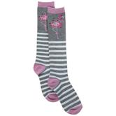 Holiday Flamingo & Striped Knee High Socks