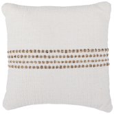 White & Jute Striped Pillow
