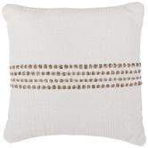 White & Jute Striped Pillow