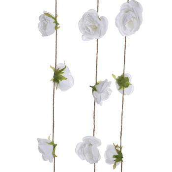 White Flowers On Rope Wood Wall Decor