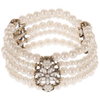 Filigree & Plastic Pearl Bracelet