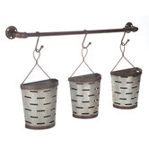Slotted Half-Round Metal Wall Buckets