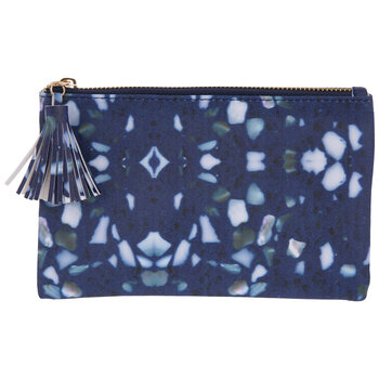 Blue Terrazzo Pouch With Tassel