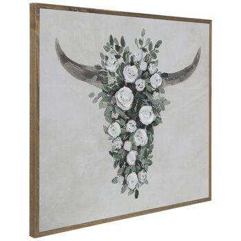Floral Bull Head Wood Wall Decor