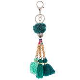 Green Tassel Beaded Keychain