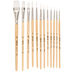 White Nylon Paint Brushes - 12 Piece Set