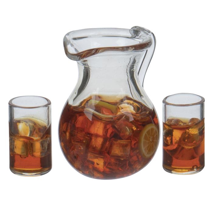 Dollhouse miniature Beverage 1:12 Glass of Ice Tea with Lemon NEW