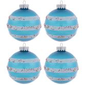 Blue & White Glitter Striped Round Ornaments