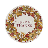 Give Thanks Fall Wreath Paper Plates - Small