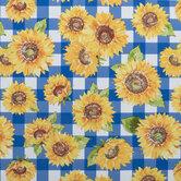 Sunflower & Plaid Oil Cloth Fabric