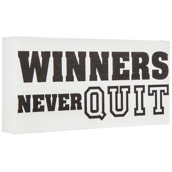 Winners Never Quit Wood Wall Decor