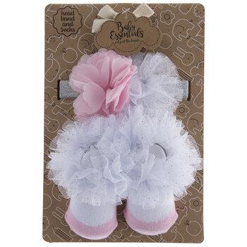 Pink Flower & Tutu Socks & Headband