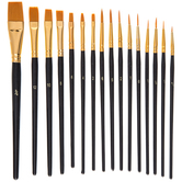 Gold Taklon Paint Brushes - 16 Piece Set