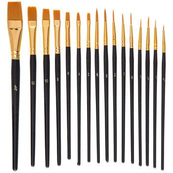 Gold Taklon Paint Brushes - 16 Piece Set