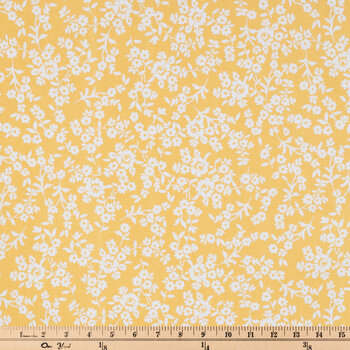 Yellow & White Floral Duck Cloth Fabric